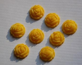 Vintage Style Matte Yellow Rosebud Flower Cabochons 15mm cab464J