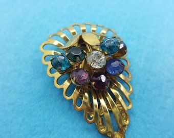 Art Deco Dress Clip Colorful mixed rhinestones Gold Tone Eames Era