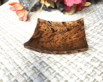 Wooden Tray Decorative - Ash Trays - Brack and Brown - 5 x 5 -