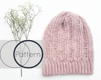 Crochet Hat Pattern/ Easy Crochet Beanie Pattern/Beginner Toque Crochet Pattern/Slouchy Crochet Hat /The Primrose Beanie