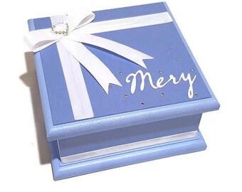Little Blue Keepsake Box, Trinket Box, Treasure Box, Jewellery Box, Memory Box, Wooden Box, Personalised Box