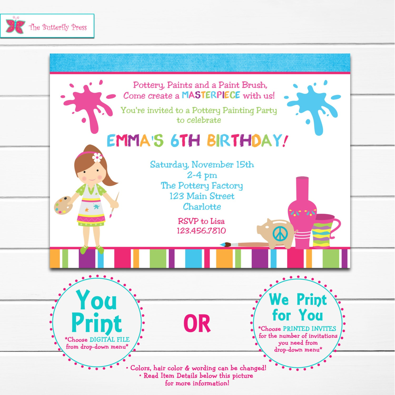 Pottery Painting Party Invitation Pottery Party Painting Party
