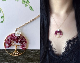Ruby Tree of Life Necklace-14k Gold Filled-Wire Wrapped Jewelry