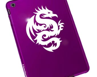 "Tribal Dragon Decal / Tribal Dragon Sticker / Round Dragon Decal / Dragon Laptop Sticker / Tribal Dragon Car Decal / 5""h x 4""w / #303"
