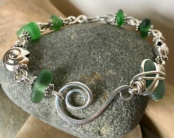 TEAL & GREEN shades sea beach glass BRACELET