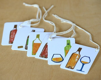 6 Mini Wine Gift Tags- Handmade Bottle Gift Tags