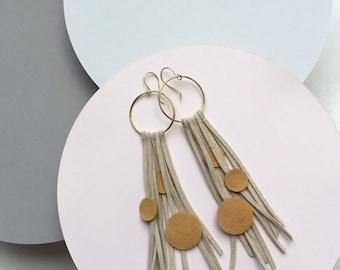 Leather earrings, statement earrings, boho earrings, bohemian earrings, fringe earrings, extra long earrings, gift for women, gift for her