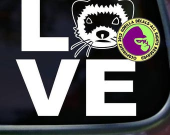 LOVE Word FERRET Weasel Ferrets Vinyl Decal Sticker