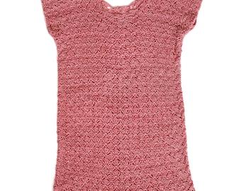1920s shell-knit pink mini dress