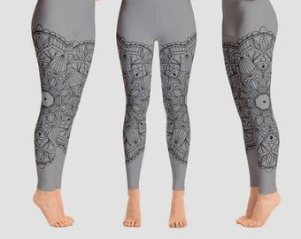 Gray Yoga pants Gray gym pants Mandala pants Gray Yoga leggings Gray leggings Mandala leggings XL size tights gym leggings printed leggings