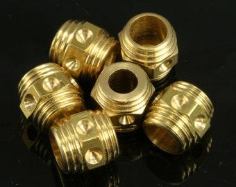 10 pcs  10 x 10 mm ( holes 6.5 mm 5 mm ) raw solid brass decorative cord end beads, hanging metal beads ENC6 1712