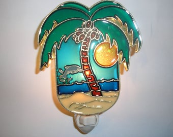Beach Palm Tree Stained Glass Style Nightlight