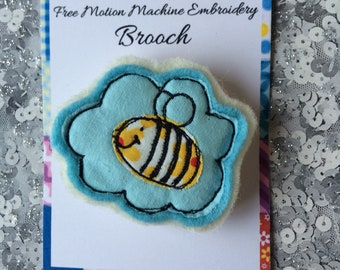 Free Motion Machine Embroidery Hand Made Bee Brooch.