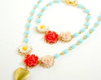 Girls Heart Locket Flower Chain Necklace and Bracelet Set