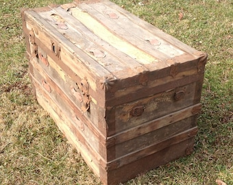 Vintage Wooden Trunk, Rustic Trunk, Storage Trunk, Farm House, Industrial,  Foot