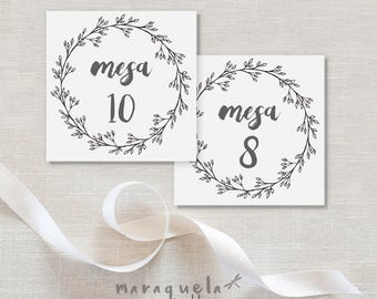 WREATH Wedding Seating Table Number,CUSTOM printable item.Watercolor illustration,tables Wedding,numbers,black and white style,Download file