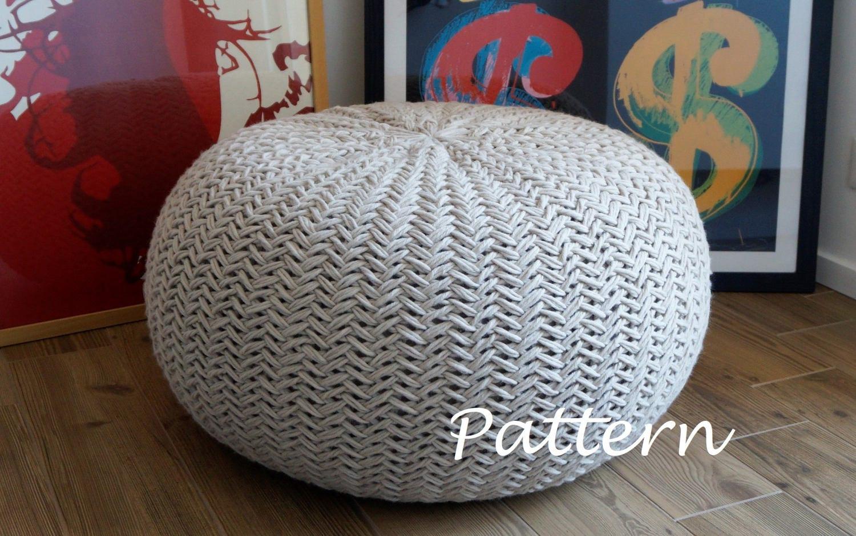 KNITTING PATTERN Knitted Pouf Pattern Poof Knitting Ottoman ...
