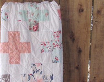 Plus Quilt / Pink and Teal Nursery / Baby Quilt, Crib Quilt, Throw Quilt, Twin Quilt, Queen Quilt, Baby Blanket, Modern Minimalist
