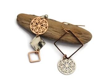 Mismatched earrings, Asymmetrical earrings, Asymmetric jewelry, Rose gold jewelry, Silver earring, filigree, Bridal earrings, gift for her