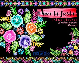 Mexican Flowers, Watercolor Flowers, Fiesta Mexicana, Clipart PNG, hand made, DIY projects, Wedding invitations, 5 de mayo, mexican wedding