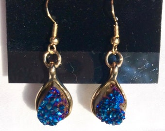 Midnight Blue Quartz Teardrop Earrings