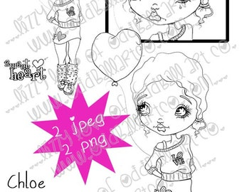 Digi Stamp Digital Instant Download Big Eye Girl ~ Chloe Image No. 22 & 22B by Lizzy Love
