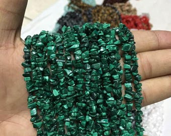 34 inches of natural malachite chip beads