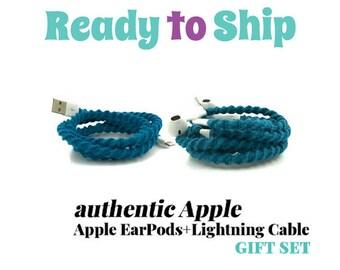Ensemble cadeau pour son iPhone 6 7 8 chargeur câble & enveloppé embrouillement libre écouteurs EarPods casque pour iPhone LYRIC