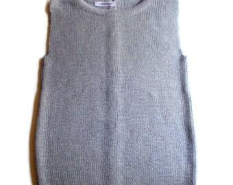 Women's Virgin wool back button vest/waistcoat/top/sweater cardigan/jumper