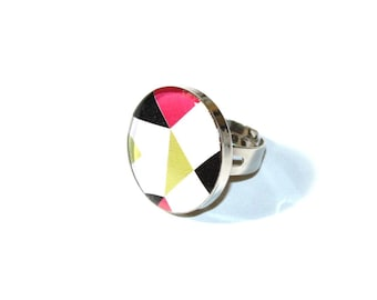 Recycled cardboard and geo pink and green resin ring