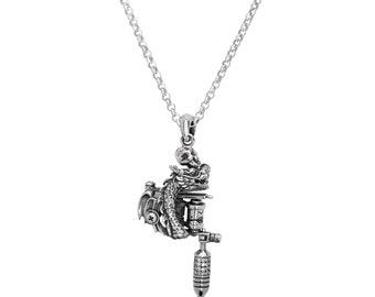 Tattoo gun jewelry etsy dragon tattoo machine pendant necklace aloadofball Images