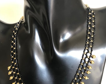 Black and gold Beads Necklace with Gold Plated Chain Hook women Gift gold droppings