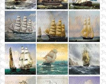 "Sailing Ships Digital Download Collage Sheet 2.5"" x 2.5"""