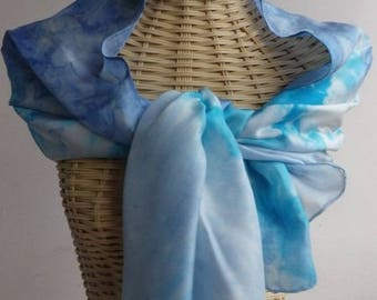 Felted scarf silk lagoon blue and grey acier@evysoie