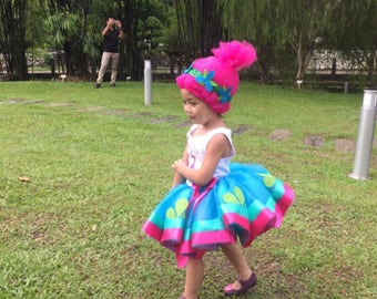 Poppy Troll inspired tutu outfit, trolls party, trolls tutu, poppy tutu, poppy troll, poppy costume