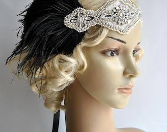 Rhinestone pearls feather flapper Gatsby Headband Crystal Wedding Headpiece,Bridal Headpiece,1920 Flapper headband