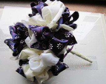 Vintage Fabric Wedding Bouquet * Bridal Bouquets * OOAK Bouquets * Vintage Poms * Fabric Flowers * Purple and Cream * Bridesmaids and Gifts