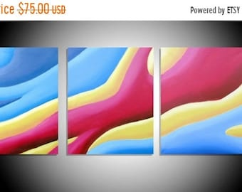 "abstract wall art triptych hanging ""Colour Acel"" original acrylic oil canvas art 3 panel wall art three panel decor 27 x 12"