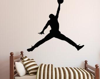 Michael Jordan Wall Decal - Jumpman Decal - Basketball Wall Decal - Sports Wall Art - Vinyl Wall Decal
