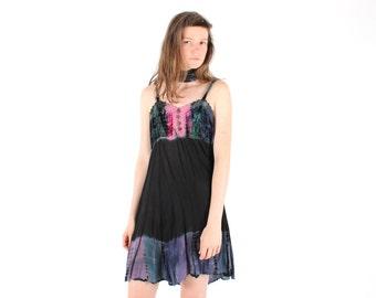50% OFF SALE - 90s Tie Dye Crushed Velvet Black Gauze Spaghetti Strap Cami / Slip Festival Free Size Floaty Grunge Dress