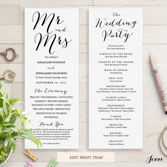 Wedding Programs Instant Download Template. Sweet Bomb. Edit, Print, Trim | DIY Editable Printable Template | Edit in WORD or PAGES