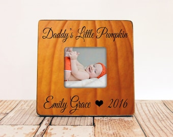 Happy Halloween Personalized Family Picture Frame, Personalized Halloween Picture Frame, Daddy's Little Pumpkin Frame