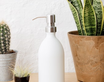 Matt White Glass Soap Dispenser With Stainless Steel Pump