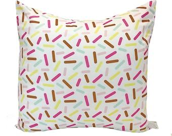 Sprinkles Print Cushion - Ice Cream Sprinkles Print Pillow - Mint Pink White Yellow Cushion
