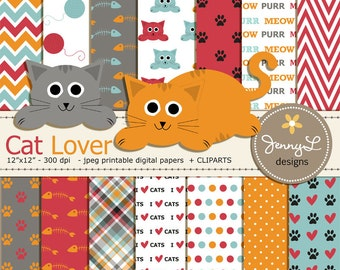 Cat Digital papers and Clipart Set, Cat head, Kitten, Pet Digital Paper, Yarn, Paws Scrapbooking Papers, Fishbone, Animal Digital Paper
