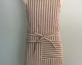 Unisex Chef Apron with Pocket and Towel Loop in Yarn Dyed Gray Striped Linen, Men's Apron, Apron with Pocket, Adjustable, No Neck Ties