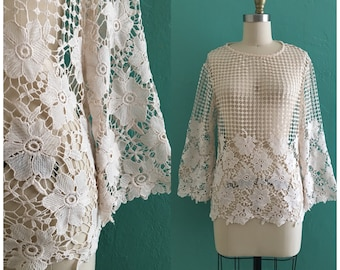 vintage lace macramé floral top // cotton lace top