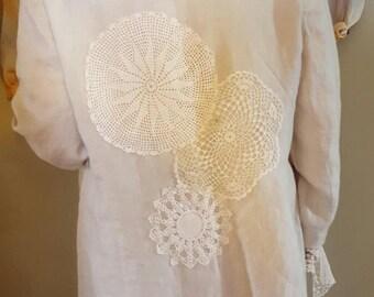 Lace Embellished Linen Coat