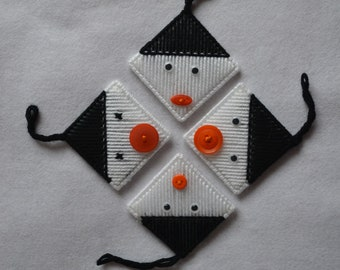 Hand stitched snowmen - Set of four - Christmas decorations.
