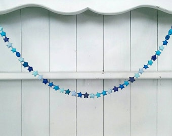 Blue Origami Star Garland